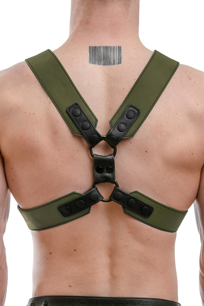 Model wearing an army green leather commander harness
