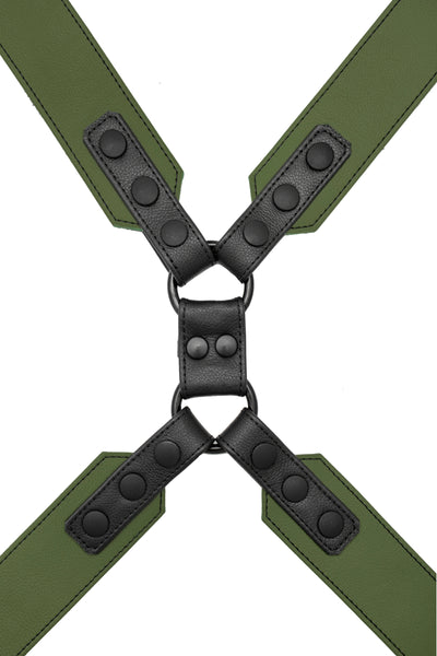 Army green leather commander harness