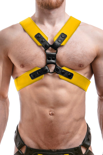 Model wearing a yellow leather commander harness