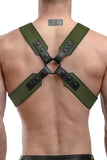Model wearing an army green leather sergeant harness
