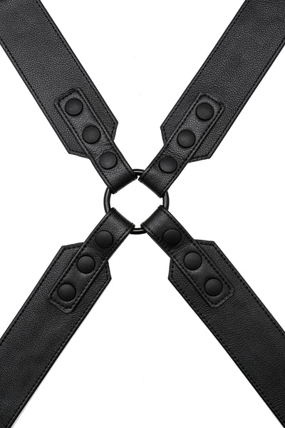 Black leather sergeant x harness