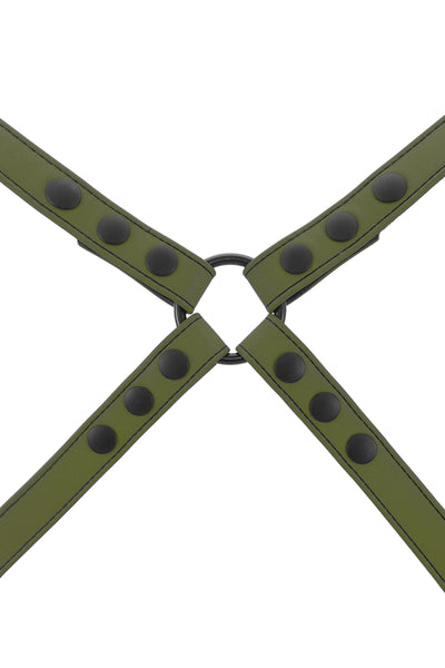 Army green leather shoulder harness