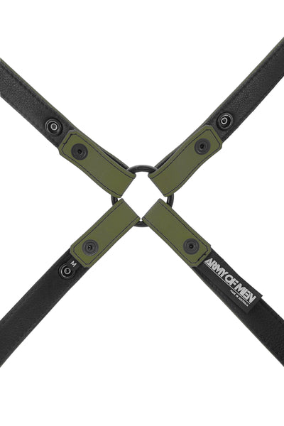 Army green leather shoulder harness lining