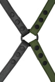 Army green leather shoulder buckle harness back
