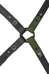 Army green leather shoulder buckle harness lining back