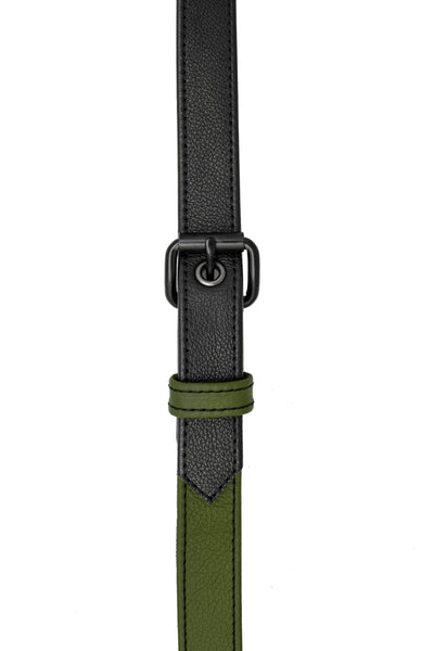 Army green leather shoulder buckle harness front