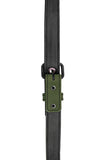 Army green leather shoulder buckle harness lining front