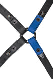 Blue leather shoulder buckle harness lining back