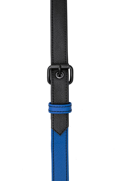 Blue leather shoulder buckle harness front