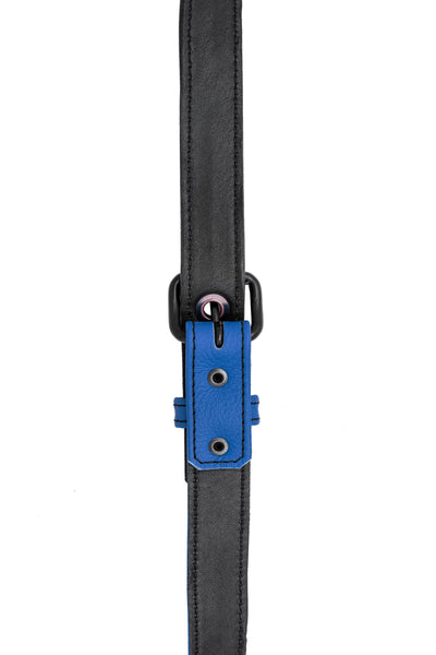 Blue leather shoulder buckle harness lining front