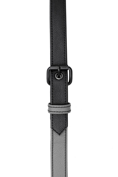 Grey leather shoulder buckle harness front