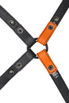 Orange leather shoulder buckle harness lining back