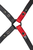 Red leather shoulder buckle harness lining back