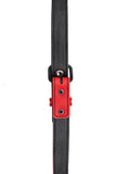 Red leather shoulder buckle harness lining front