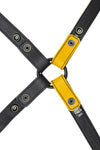 Yellow leather shoulder buckle harness lining back