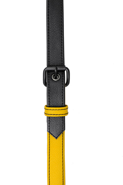 Yellow leather shoulder buckle harness front