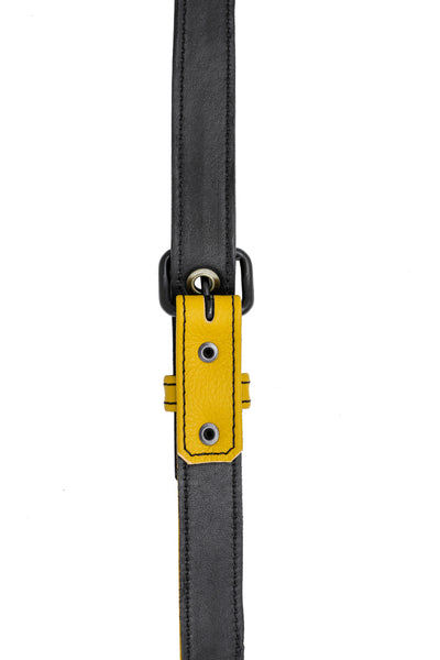 Yellow leather shoulder buckle harness lining front
