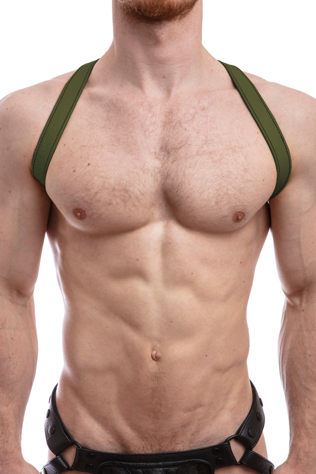 Model wearing army green leather shoulder harness front