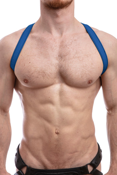 Model wearing blue leather shoulder harness front