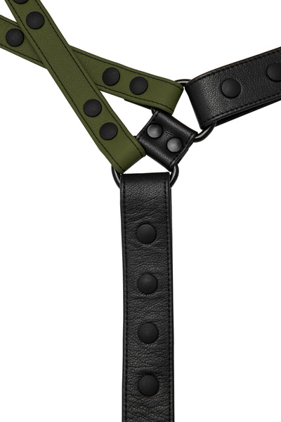 Army green leather universal x harness