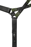 Army green leather universal x harness lining