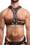 Model wearing black leather universal x harness  with black metal hardware
