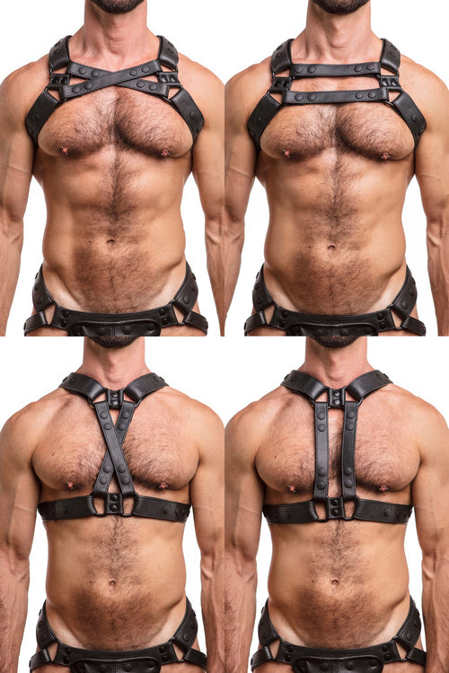 Model wearing black leather universal x harness