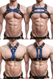 Model wearing blue leather universal x harness