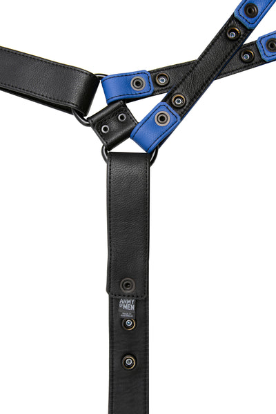 Blue leather universal x harness lining