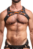 Model wearing orange leather universal x harness