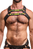Model wearing yellow leather universal x harness