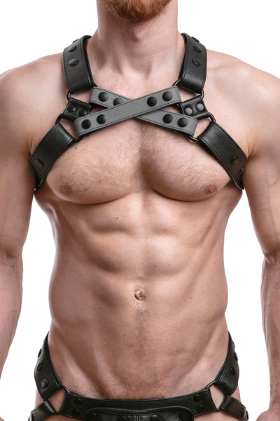 Model wearing grey leather universal x harness