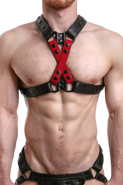 Model wearing red leather universal x harness