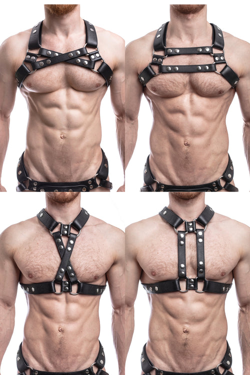 Model wearing all 4 versions of black leather universal x harness with stainless steel hardware