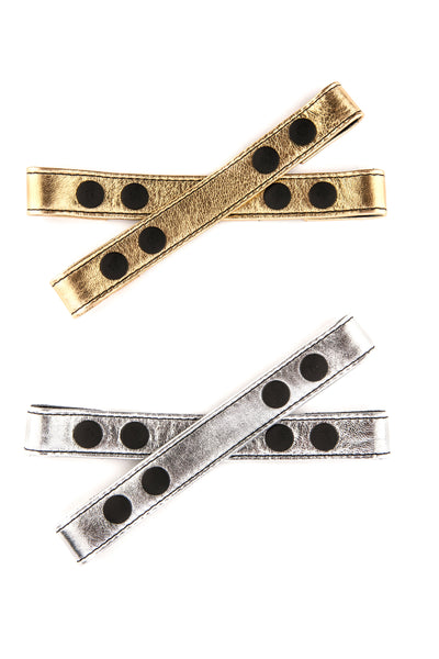 Metallic leather universal x front straps