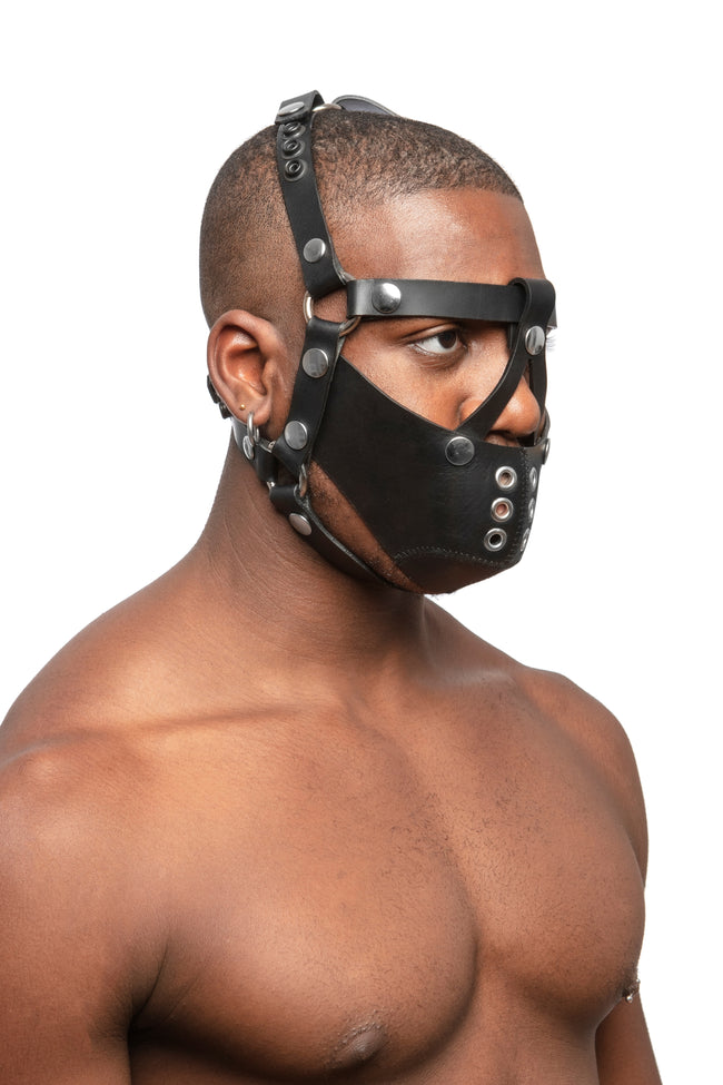 Model wearing black leather head harness and muzzle with stainless steel hardware, three quarter