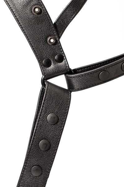 Black leather harness jockstrap