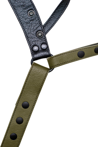Army green leather jockstrap