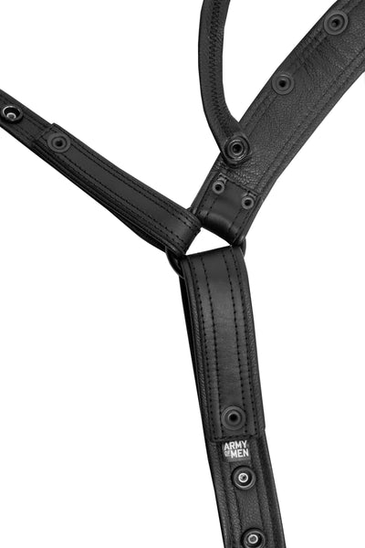 Product photo of a black leather combat jock lining