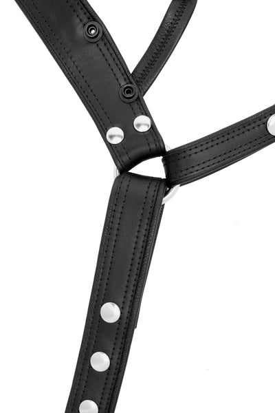 Product photo of a black leather and stainless steel combat jock