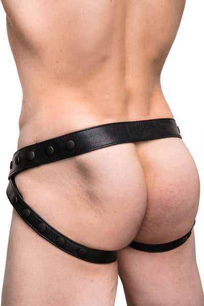 Model wearing black leather jockstrap