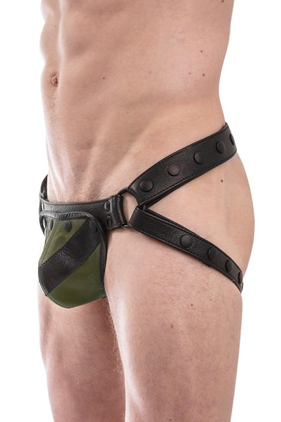 Black leather jockstrap with army green and black leather chevron codpiece