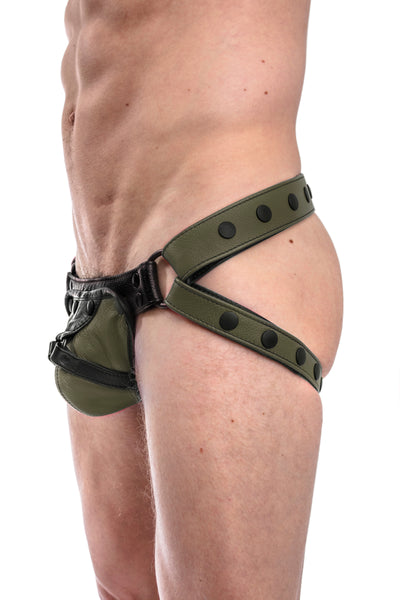 Army green leather jockstrap with army green and black leather harness codpiece