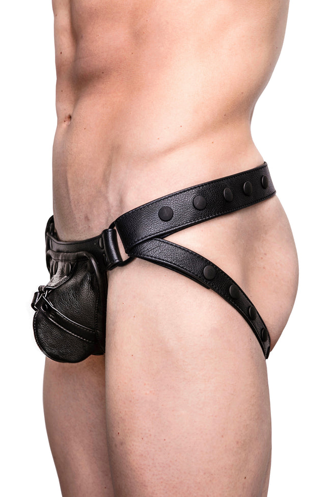 Model wearing black leather harness jockstrap