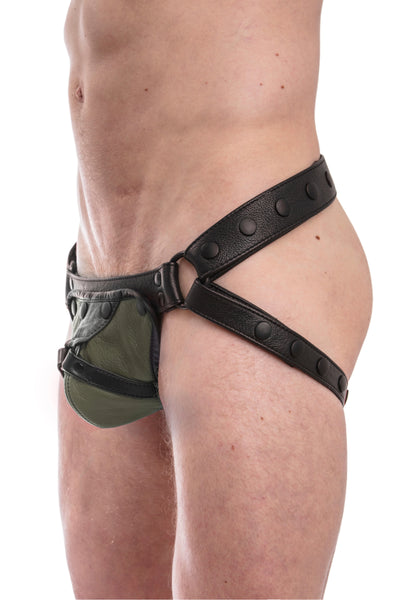 Black leather jockstrap with army green and black leather harness codpiece