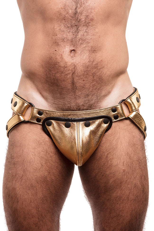 Model wearing gold metallic leather jockstrap