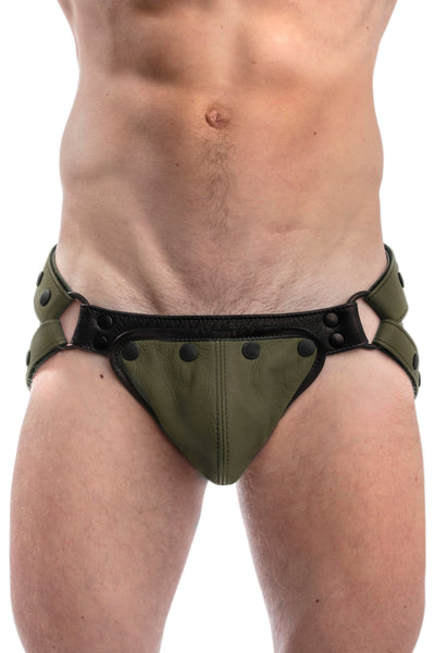 Army green leather jockstrap and codpiece