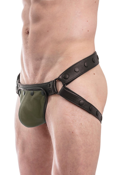 Black leather jockstrap with army green standard codpiece