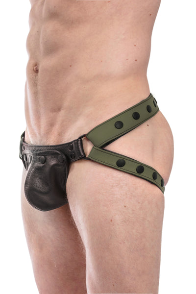 Army green leather jockstrap with black leather codpiece