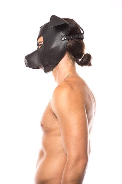 "Model wearing black leather ""rex"" pup mask"